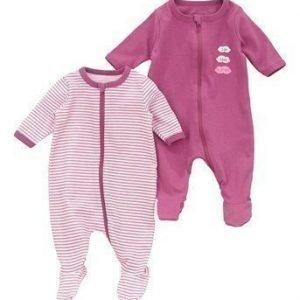 Name it Pyjama 2-Pakkaus Vaalea luumu Raidallinen