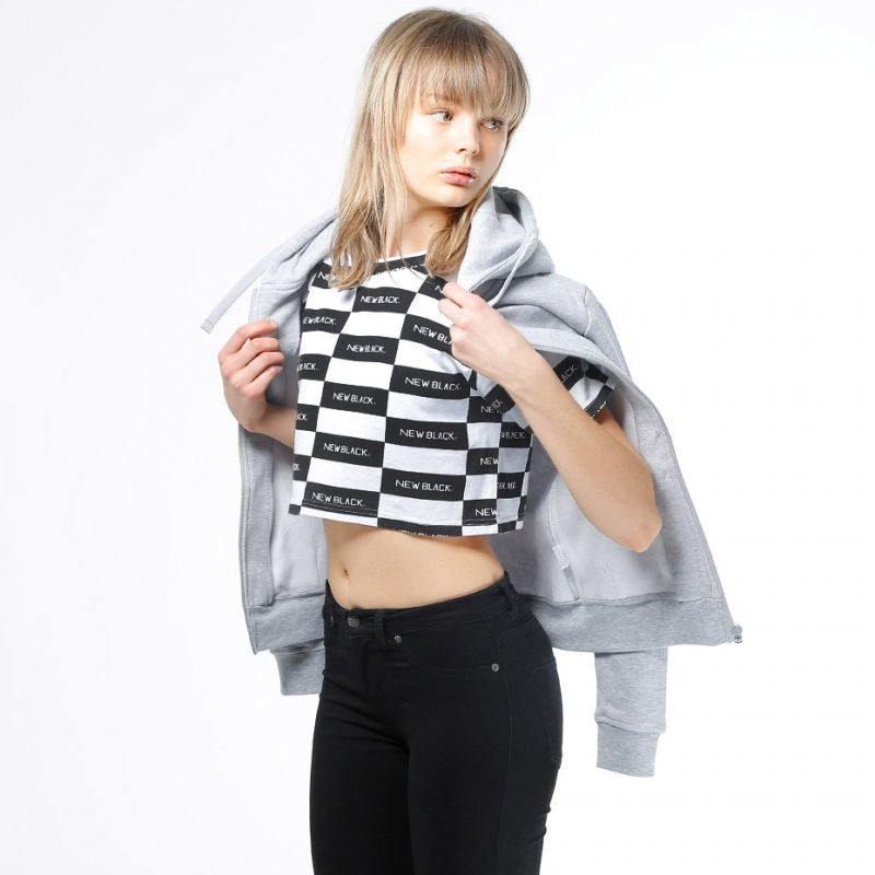 New Black Check Logo Crop -t-paita