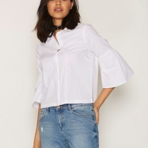 New Look Bell Sleeve Shirt Kauluspaita White