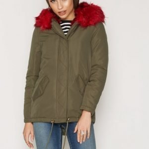 New Look Bright Faux Fur Trim Parka Parkatakki Wine