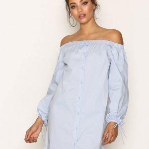 New Look Button Front Bardot Neck Dress Loose Fit Mekko Pale Blue