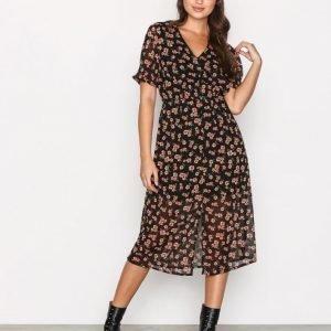 New Look Button Front Floral Dress Maksimekko Black