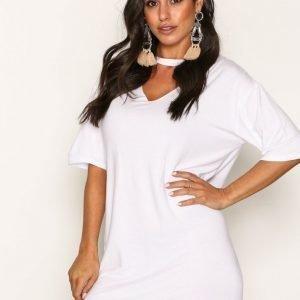 New Look Choker Neck Tunic T-Paita White