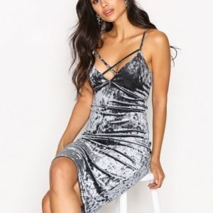New Look Crushed Velvet Bodycon Kotelomekko Grey