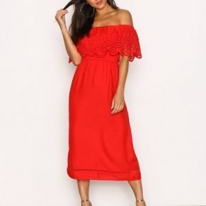 New Look Cutwork Bardot Midi Dress Loose Fit Mekko Red