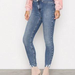 New Look Disco Fray Hem Trousers Slim Farkut Blue