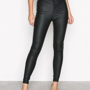New Look Disco Superskinny Coated Trousers Housut Black