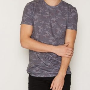 New Look Distressed Camo Longline T-paita Blue