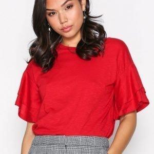 New Look Double Ruffle Sleeve Tee T-Paita Red