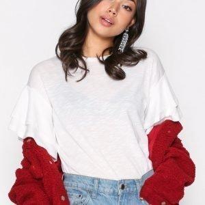 New Look Double Ruffle Sleeve Tee T-Paita White