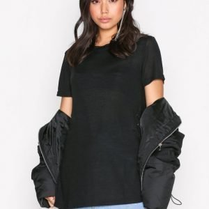 New Look Eyelet Side Ll Tee T-Paita Black