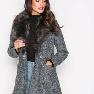 New Look Faux Fur Collar Coat Pitkä Takki Black