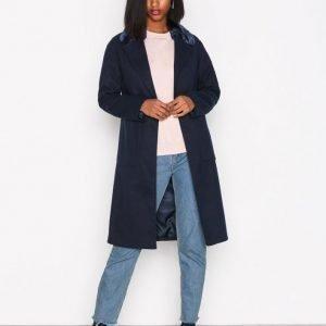 New Look Faux Fur Collar Coat Pitkä Takki Navy