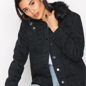 New Look Faux Fur Denim Jacket Farkkutakki Black