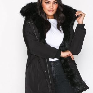 New Look Faux Fur Lined Parka Untuvatakki Black