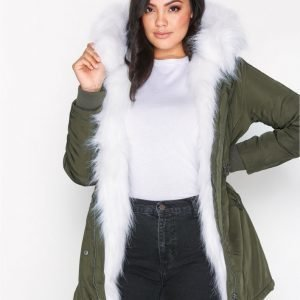 New Look Faux Fur Lined Parka Untuvatakki Olive