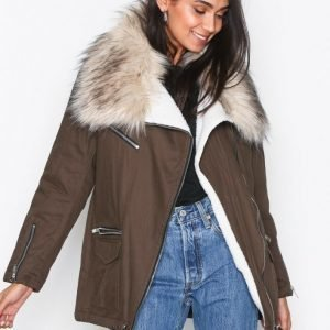 New Look Faux Fur Short Parka Parkatakki Khaki