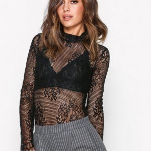 New Look Fishnet Lace Bodysuit Body Black