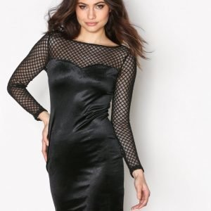 New Look Fishnet Velvet Bodycon Kotelomekko Black