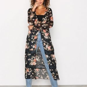 New Look Floral Chiffon Cover Up Tunika Black
