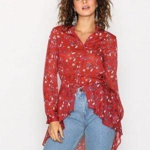 New Look Floral Chiffon Shirt Arkipaita Brown