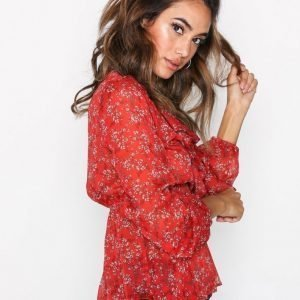 New Look Floral Frill Tie Neck Blouse Pusero Red