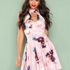 New Look Floral Print Skater Dress Skater Mekko Pink