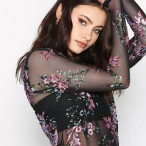 New Look Floral Sequin Mesh Top Pitkähihainen Paita Black