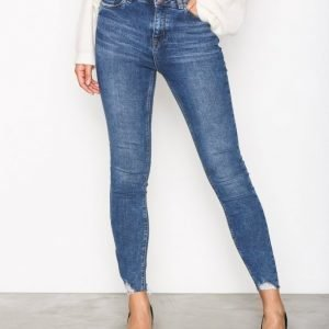 New Look Fray Hem Skinny Jeans Farkut Blue