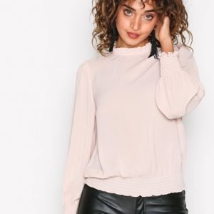 New Look Frill Trim Sleeve Top Juhlapaita Beige