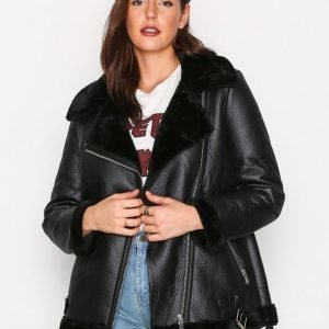 New Look Fur Lined Aviator Jacket Nahkatakki Black