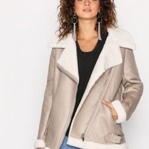 New Look Fur Lined Aviator Jacket Nahkatakki Oatmeal