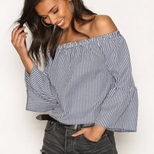 New Look Gingham Bell Sleeve Bardot Neck Top Pitkähihainen Paita Blue / White