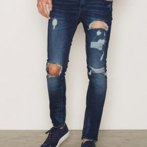 New Look Indigo Rip Distress Skinny Jeans Farkut Blue