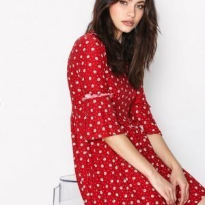 New Look Jersey Ruffle Dress Skater Mekko Red
