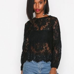 New Look Lace Balloon Sleeve Top Juhlapaita Black