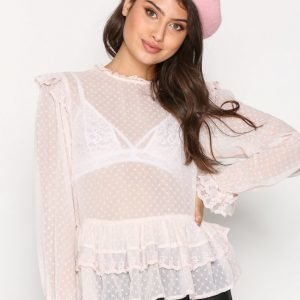 New Look Lace Frill Blouse Juhlapaita Beige