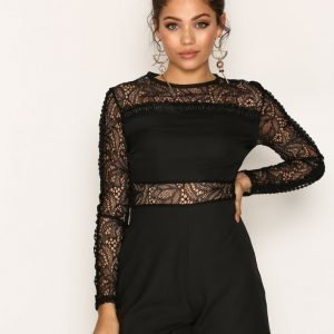 New Look Lace Insert Long Sleeve Playsuit Black