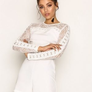 New Look Lace Insert Long Sleeve Playsuit White
