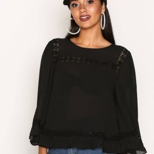 New Look Lace Trim Bell Sleeve Top Pusero Black