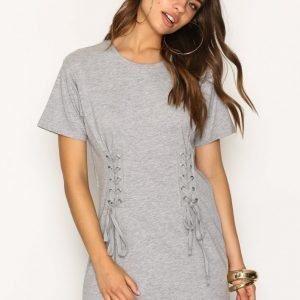 New Look Lace Up Corset Longline T-Shirt T-Paita Grey