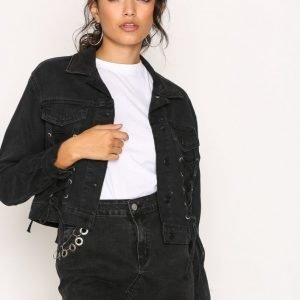 New Look Lace Up Jacket Farkkutakki Black