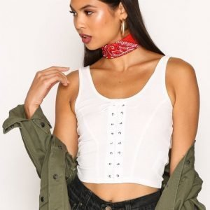New Look Lace Up Rib Vest Toppi White