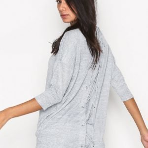 New Look Lattice Back 3 / 4 Sweat Neulepusero Pale Grey