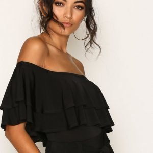 New Look Layered Frill Trim Bardot Neck Bodysuit Body Black