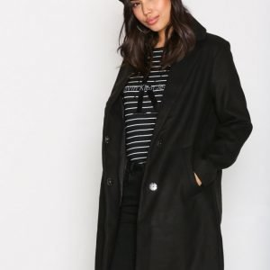 New Look Longline Collared Coat Pitkä Takki Black