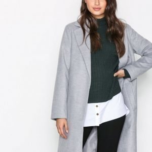 New Look Longline Collared Coat Pitkä Takki Pale Grey