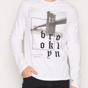 New Look Ls Brooklyn Print Tee Pusero White