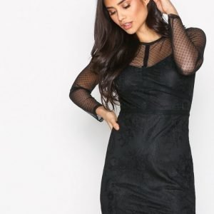 New Look Mesh Lace Bodycon Dress Kotelomekko Black