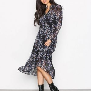 New Look Metallic Chiffon Dress Kotelomekko Black